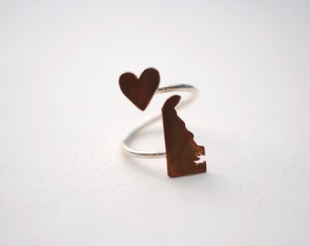 Delaware State Twist Ring (Sterling Silver & Copper Place State Love Map Ring)