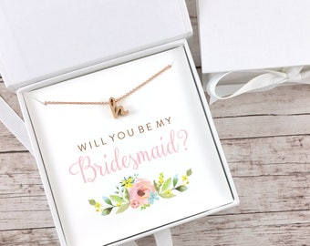 Bridesmaid Proposal Gift, Bridesmaid Gift, Will You Be My Bridesmaid, Initial Necklace, Rose Gold Necklace, Dainty Necklace - (FPS0013)
