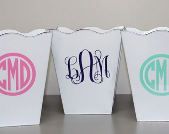 Monogrammed Trash Can - Personalized Trash Can - Monogrammed Waste Basket - Monogrammed Gift