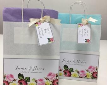 Personalised Wedding Vintage flowers Gift Bags