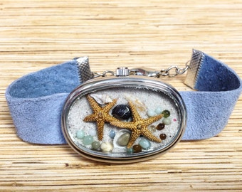 Periwinkle Repurposed Upcycled/Recycled Beach Watch Bracelet