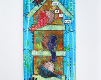 Mixed Media Birds on a Birdhouse