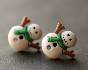 Snowman Earrings with Green Scarf. Holiday Jewelry. Snow Man Earrings. Christmas Earrings. Stud Earrings. Post Earrings. Handmade Jewelry.