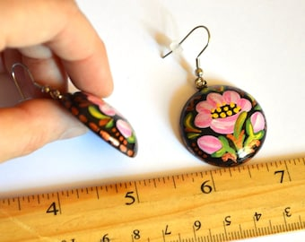 women birthday gift for sister nature Pink flowers jewelry black pink floral Painted earrings pink earrings handmade earrings Pink black Art