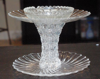 2 Tier Ring, Jewelry Tray, Jewelry Holder, Candy Dish, Trinket Dish, Glass and Crystal, Weddings, Baby Showers, Up-cycled