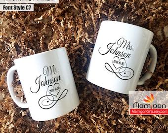 Personalized Mug Set, Wedding Gift, Mr and Mrs Personalized Mugs, Anniversary Mug, Couples Mug, Mug Set, His and Hers Mug Set, Custom Mug