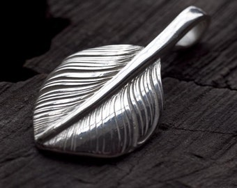 Silver Feather Pendant   Native American Inspired   Feather Jewelry   Small Feather Charm   Sterling Silver Palm Leaf   Palm Leaf Pendant