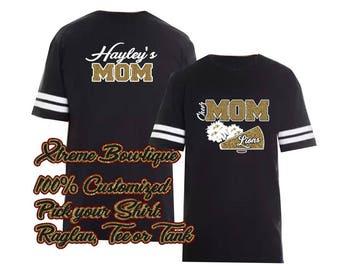 Cheer Shirt, Cheer Mom Shirt, Cheer Football Jersey, Bling Cheer Mom Shirt, Custom Cheer Mom Shirt, Personalized Cheer Mom Shirt