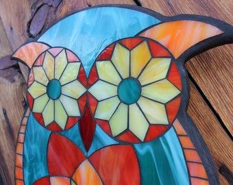 Stained Glass Mosaic - Owl Design - Colorful - ON SALE!