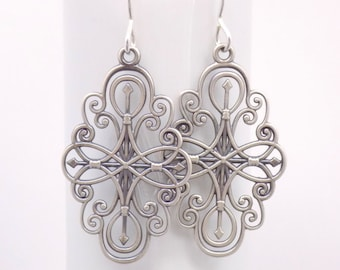 """Silver Filigree Earrings. Free Shipping. Long Silver Earrings. Compass Rose. Large Sterling Silver. Oxidized. Romantic. Ornate. 1 3/4"""" Long."""