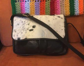 Vintage Latico boho cowhide leather bag purse handbag crossbody horse hair adjustable strap