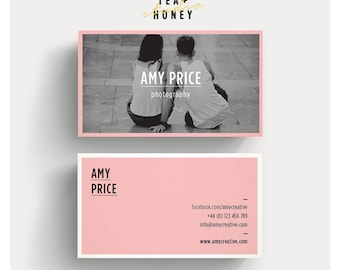 Personalised business card template, Calling Card, Unique BC design, Photography contact card, Black white and pink, feminine contact card