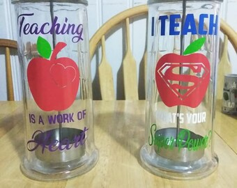 Glass pencil holder - Teacher gift