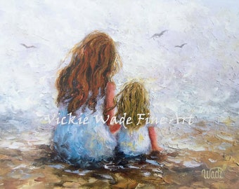 Mother Redhead Daughter Blonde Art Print, mother paintings, mom, two sisters, redhead sister, blonde sister, mother's day gift,  Vickie Wade