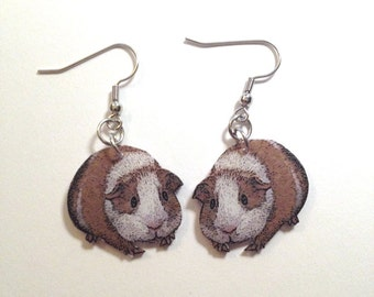 Handcrafted Plastic Guinea Pig Cavie Earrings, Necklace or Keyring