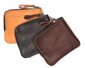 Leather zip pocket wallet / leather wallet / veg tan wallet / gift for a man