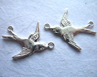 Sterling Silver  SWALLOW Pendants Charms Link Connector, 19.5x15 mm, Right n Left Bird  artisan ..art hp