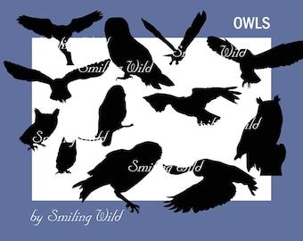 owl clipart vector art, owl svg, bird clipart, cute owls, owl art, owl silhouette, bird silhouette vector graphic woodland bird clipart