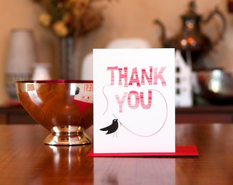 Sew Many Thanks - Bird with Needle & Thread Set of 10 Thank You Cards