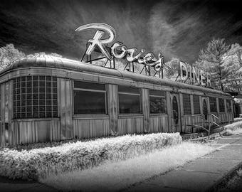 "Rosie's Diner Photograph, Black & White, Infrared, Rockford, Michigan, Fine Art, Diner Car, wall decor, photo print, ""Rosie's Diner"""
