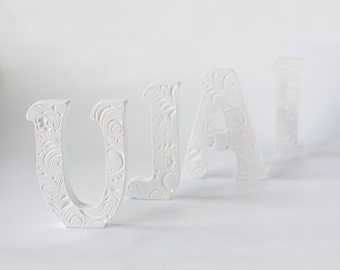 Wooden decor, white, wooden letters for Weddings, wooden letters for nursery, wedding letter, letters U, wood letter decorations, Weddings