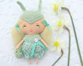 Stuffed fabric bunny rabbit Stuffed bunny doll Soft plush bunny Shabby rag doll bunny Mint green decor Shabby bunny plush soft bunny doll