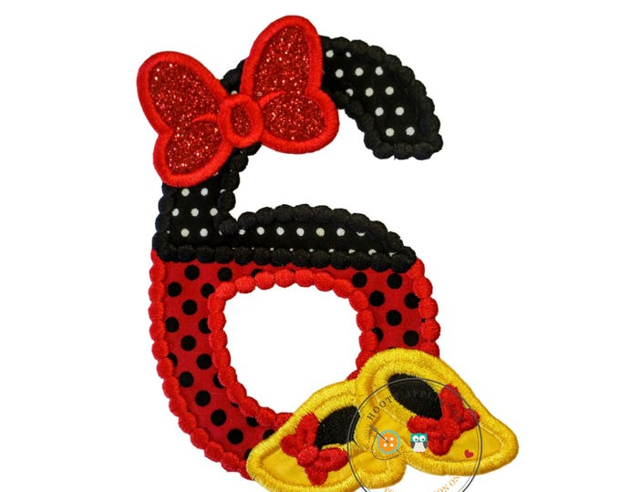 Red and black birthday number 6 with glitter bow iron on embroidered applique, 6th birthday patch for girl, Minnie inspired iron on applique