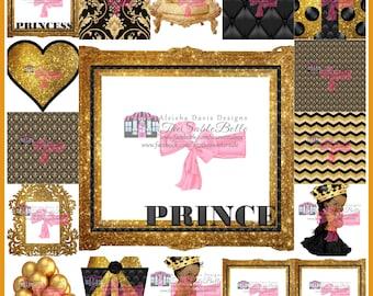 Black and Gold Theme Maker Kit 17 Piece Set Digital Download