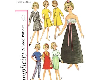 1960's Simplicity 6244 - 12 inch Doll tammy, jan, terry and misty doll clothing sewing patterns - PDF