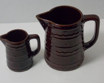 MarCrest Daisy and Dot 5 cup Pitcher or batter pitcher and U.S.A. small pitcher creamer or syrup pitcher  Warm Colorado Brown