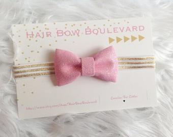Pink Glitter Bow- Sparkle- Infant Headband- Pink and Gold-Newborn Headband, Baby Hair Bow, Pink Sparkle Bow, Glitter Headband, Toddler