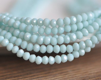 Crystal Glass Rondelle Faceted beads 3x4mm, Opaque Sky Blue -(BZ04-138)/ 145pcs