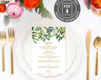 Printable Menu | Instant Download Wedding Menu | Printable Menu Template | Botanical Wedding Menu | DIY Greenery Wedding Menu | 004