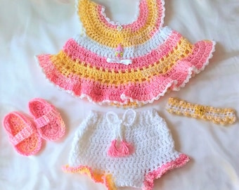 Crocheted Baby Dress-Crocheted Baby Clothes-Crocheted Baby Girl Ensemble-Crocheted Layette Set-Baby Girl Clothes-Baby Girl Set-Baby Clothes