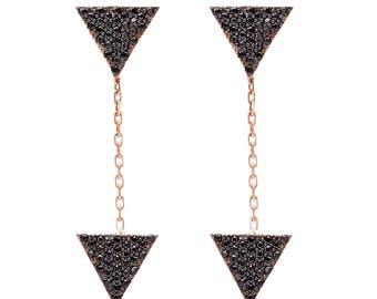 Black Triangle Drop Earrings