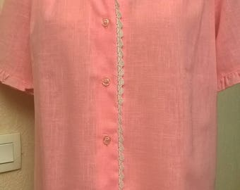 Cotton pink and white lace shirt