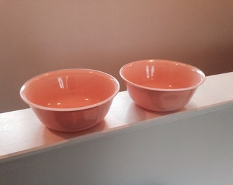 vintage pink glass bowls set of 2 mid century modern