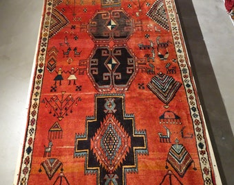 "Vintage Persian Rug 1960's MESHKIN 3' 11"" x 9' 2"" Handmade, Hand-knotted, Natural Dyes, Bohemian, Boho Chic, Made in Iran 806m"