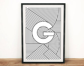 "Typography Print | Letter Print ""G"" 