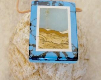 Picture Stone Jasper, Amazonite, Howlite,  And Turquoise Scenic Pendant