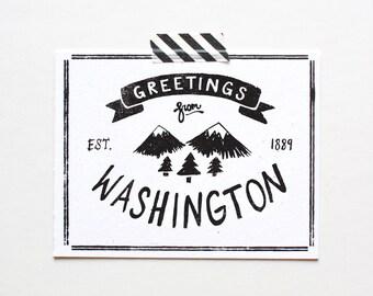 State of Washington Postcard, Screenprinted