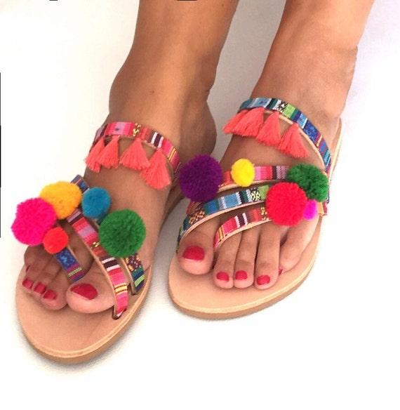 Sandals Boho ''Rainbow'' Pom Worldwide Sandals SHIPPING Greek Strappy Pom Sandals EXPRESS FREE Leather sandals 5Eq1tgSwqx