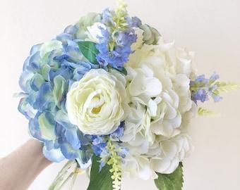 Silk Bridal Wedding Bouquet in White & Blue -Bride, Bridesmaid, Flowergirl