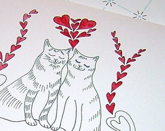 Romantic Cat Anniversary Card, Cat Valentine's Card, Cat Wedding Card, Cat Greeting Card, Cat Birthday Card, Cat Love Card, Cats in Love