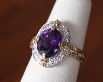 14 k yellow gold ring, Amethyst and diamond ring