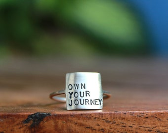 Storybook Ring - Own Your Journey Ring Sterling Silver Personalized Inspirational Ring Inspirational Jewelry Quote Personalized Ring