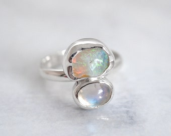 Australian Opal ring Raw Opal ring Opal jewelry Natural Opal ring Rough Opal ring Moonstone ring Raw mineral ring Opal jewellery