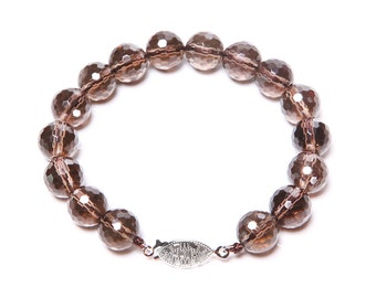 Faceted Smoky Quartz and 925 Sterling Silver Bracelet