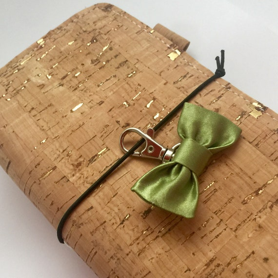 The CUTENESS!  Green satin bow charm on swivel clasp handmade with love!  For planner, notebook, journal, or handbag.