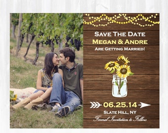 Sunflower Save The Date Magnet or Card DIY PRINTABLE Digital File or Print (extra) Country Save The Date Wood Save The Date Photo